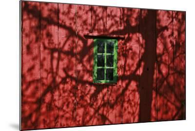 Barn, Red, Green Window, Shadow of a Tree-Uwe Steffens-Mounted Photographic Print