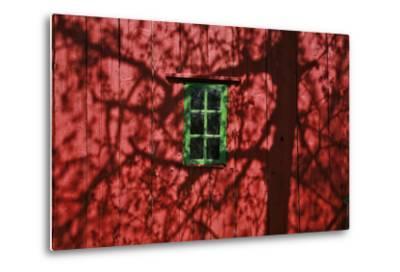 Barn, Red, Green Window, Shadow of a Tree-Uwe Steffens-Metal Print
