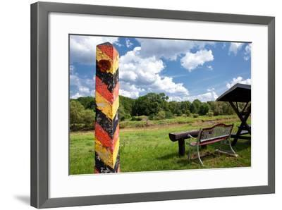 Germany, Saxony, Oder-Neisse Cycle Route, Boundary Post at the Polish Border, Resting Place-Catharina Lux-Framed Photographic Print