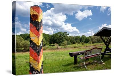 Germany, Saxony, Oder-Neisse Cycle Route, Boundary Post at the Polish Border, Resting Place-Catharina Lux-Stretched Canvas Print