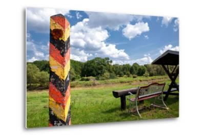 Germany, Saxony, Oder-Neisse Cycle Route, Boundary Post at the Polish Border, Resting Place-Catharina Lux-Metal Print