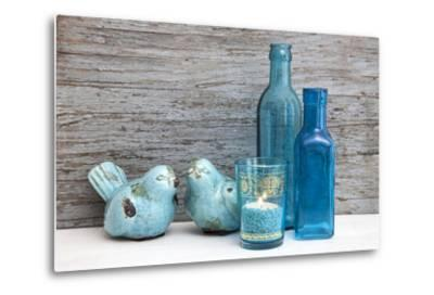Still Life, Turquoise, Bottles, Candle, Birds-Andrea Haase-Metal Print