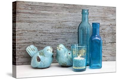 Still Life, Turquoise, Bottles, Candle, Birds-Andrea Haase-Stretched Canvas Print