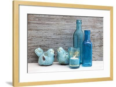 Still Life, Turquoise, Bottles, Candle, Birds-Andrea Haase-Framed Photographic Print