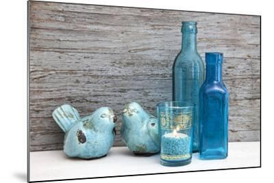 Still Life, Turquoise, Bottles, Candle, Birds-Andrea Haase-Mounted Photographic Print
