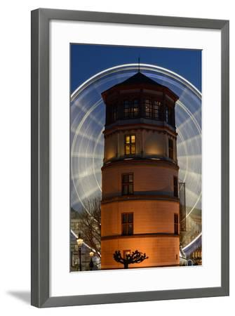 Germany, North Rhine-Westphalia, Dusseldorf, Navigation Museum and Big Wheel at Night-Andreas Keil-Framed Photographic Print
