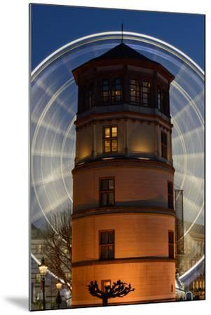 Germany, North Rhine-Westphalia, Dusseldorf, Navigation Museum and Big Wheel at Night-Andreas Keil-Mounted Photographic Print