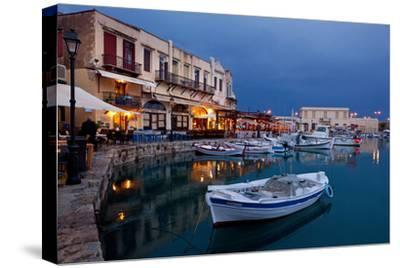 Greece, Crete, Rethimnon, Venetian Harbour, Illuminated, in the Evening-Catharina Lux-Stretched Canvas Print
