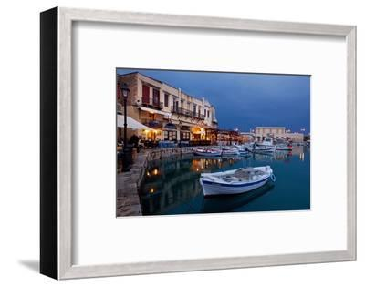 Greece, Crete, Rethimnon, Venetian Harbour, Illuminated, in the Evening-Catharina Lux-Framed Photographic Print