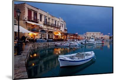 Greece, Crete, Rethimnon, Venetian Harbour, Illuminated, in the Evening-Catharina Lux-Mounted Photographic Print