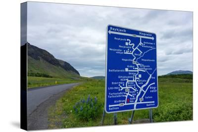 Signpost, Iceland, Golden Circle, Confusing-Catharina Lux-Stretched Canvas Print