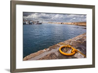 Greece, Crete, Chania, Harbour, Fixing Ring-Catharina Lux-Framed Photographic Print