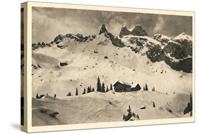 Postcard, Historical, Lindauer HŸtte with Three Towers, Drusenfluh, Vorarlberg, Austria, B/W- Starfoto-Stretched Canvas Print