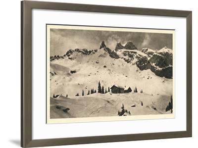 Postcard, Historical, Lindauer HŸtte with Three Towers, Drusenfluh, Vorarlberg, Austria, B/W- Starfoto-Framed Photographic Print