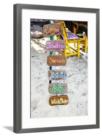 Signs, Brightly Coloured, Hand-Painted, Beach Bar, Unique-Andrea Haase-Framed Photographic Print