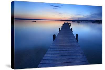 Germany, Bavaria, Ammersee (Lake Ammer), Herrsching, Footbridge at Sundown-Andreas Vitting-Stretched Canvas Print