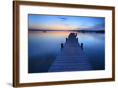 Germany, Bavaria, Ammersee (Lake Ammer), Herrsching, Footbridge at Sundown-Andreas Vitting-Framed Photographic Print
