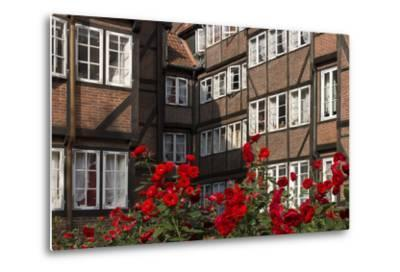 Hamburg, Neanderstrasse, Half-Timbered Houses, Facades, Flowers-Catharina Lux-Metal Print