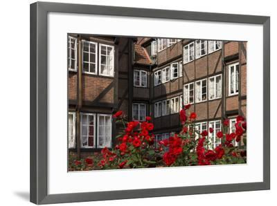 Hamburg, Neanderstrasse, Half-Timbered Houses, Facades, Flowers-Catharina Lux-Framed Photographic Print