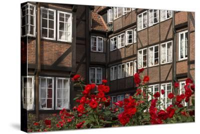 Hamburg, Neanderstrasse, Half-Timbered Houses, Facades, Flowers-Catharina Lux-Stretched Canvas Print