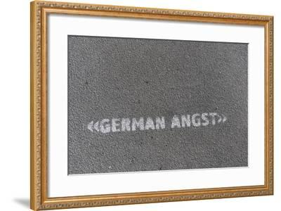 Writing 'German Angst' on a Footpath, Hamburg, Germany-Axel Schmies-Framed Photographic Print