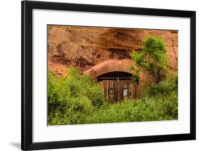 France, Provence, Vaucluse, Roussillon, Old Town, Rock Cave, Entrance Gate-Udo Siebig-Framed Photographic Print