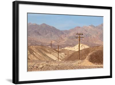 USA, Death Valley National Park, Power Poles-Catharina Lux-Framed Photographic Print