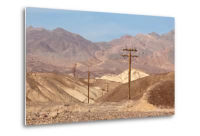 USA, Death Valley National Park, Power Poles-Catharina Lux-Metal Print