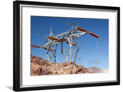 USA, Arizona and Nevada, Hoover Dam, Power Poles-Catharina Lux-Framed Photographic Print
