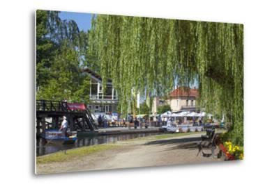 Europe, Germany, Brandenburg, Spreewald (Spree Forest), L?bbenau, Harbour Promenade, Weeping Willow-Chris Seba-Metal Print