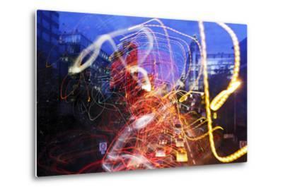 Light Trails, Traffic, Abstract, Dynamic, Rush-Hour Traffic-Axel Schmies-Metal Print