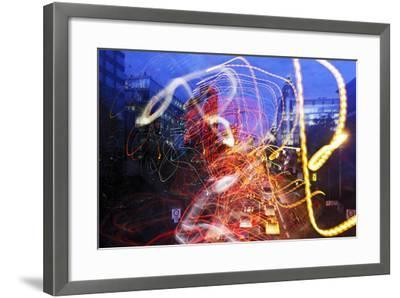 Light Trails, Traffic, Abstract, Dynamic, Rush-Hour Traffic-Axel Schmies-Framed Photographic Print