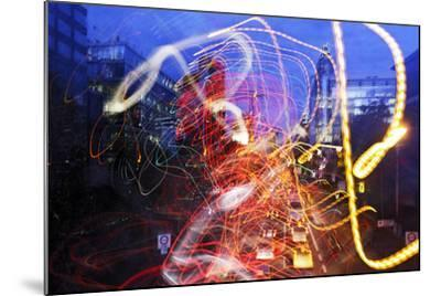 Light Trails, Traffic, Abstract, Dynamic, Rush-Hour Traffic-Axel Schmies-Mounted Photographic Print