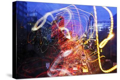 Light Trails, Traffic, Abstract, Dynamic, Rush-Hour Traffic-Axel Schmies-Stretched Canvas Print