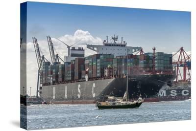 Germany, Hamburg, Elbe (River), 'Fischmarkt', Harbour-Ingo Boelter-Stretched Canvas Print
