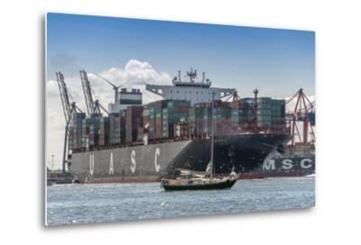 Germany, Hamburg, Elbe (River), 'Fischmarkt', Harbour-Ingo Boelter-Metal Print