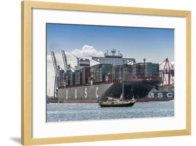 Germany, Hamburg, Elbe (River), 'Fischmarkt', Harbour-Ingo Boelter-Framed Photographic Print