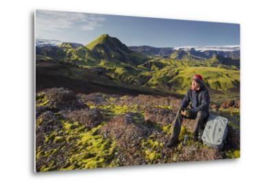 Hiker Resting, Laugarvegur, Fjallabak, South Iceland, Iceland-Rainer Mirau-Metal Print