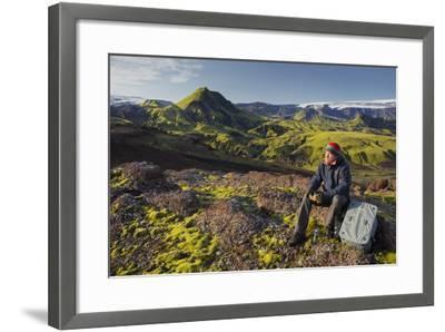 Hiker Resting, Laugarvegur, Fjallabak, South Iceland, Iceland-Rainer Mirau-Framed Photographic Print