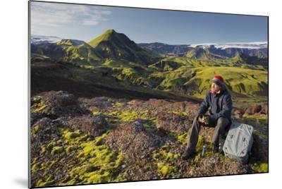 Hiker Resting, Laugarvegur, Fjallabak, South Iceland, Iceland-Rainer Mirau-Mounted Photographic Print