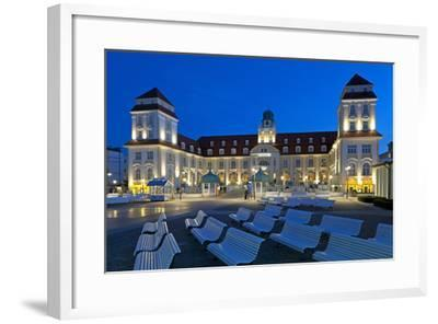 Europe, Germany, Mecklenburg-Western Pomerania, Baltic Sea Island R?gen, Binz, Kurhaus, Evening-Chris Seba-Framed Photographic Print