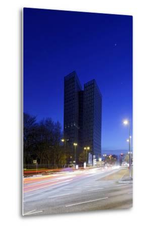 Dancing Towers, Office Building and Commercial Building at the Reeperbahn in the Evening-Axel Schmies-Metal Print