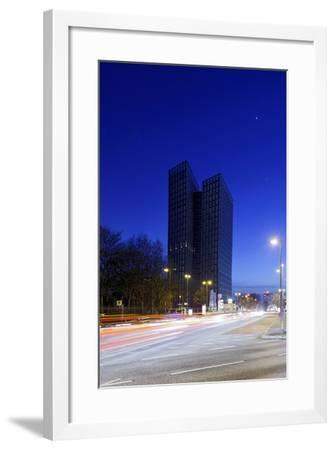 Dancing Towers, Office Building and Commercial Building at the Reeperbahn in the Evening-Axel Schmies-Framed Photographic Print