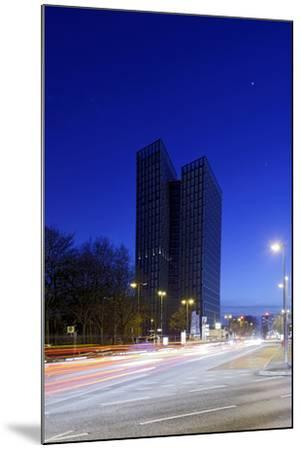 Dancing Towers, Office Building and Commercial Building at the Reeperbahn in the Evening-Axel Schmies-Mounted Photographic Print