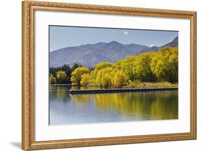 Lake Benmore, Woman with Child, Shore, Footbridge, Otago, South Island, New Zealand-Rainer Mirau-Framed Photographic Print