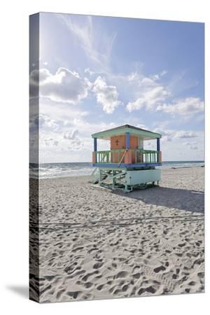 Beach Lifeguard Tower '14 St', Typical Art Deco Design, Miami South Beach-Axel Schmies-Stretched Canvas Print