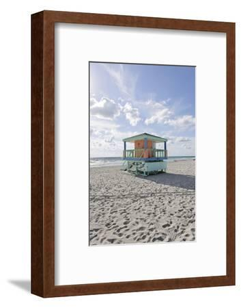 Beach Lifeguard Tower '14 St', Typical Art Deco Design, Miami South Beach-Axel Schmies-Framed Photographic Print