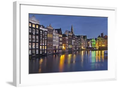Channel Houses Damrak, Steeple of 'Oude Kirk', Amsterdam, Netherlands-Rainer Mirau-Framed Photographic Print
