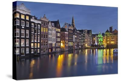 Channel Houses Damrak, Steeple of 'Oude Kirk', Amsterdam, Netherlands-Rainer Mirau-Stretched Canvas Print