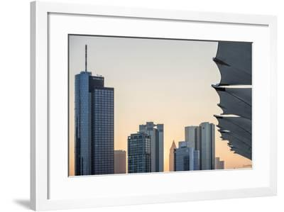 Germany, Hesse, Frankfurt Am Main, Frankfurt, Financial District, Sundown-Bernd Wittelsbach-Framed Photographic Print